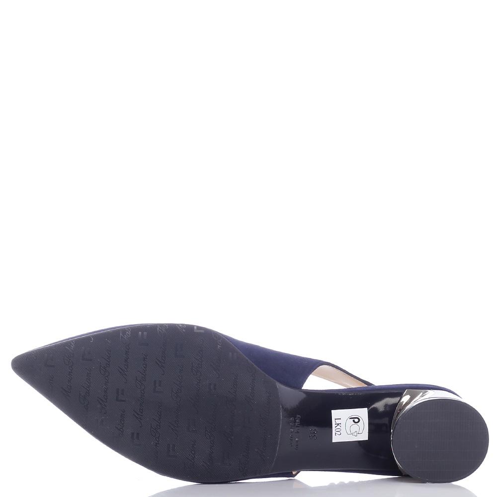 Синие туфли-слингбеки Marino Fabiani с декором-камнями