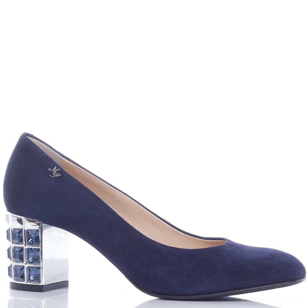 Синие туфли Marino Fabiani с камнями на каблуке