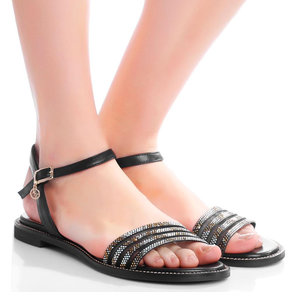 Черные сандалии Marino Fabiani с декором-стразами
