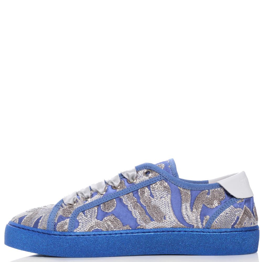 Синие кеды Stokton с вышивкой