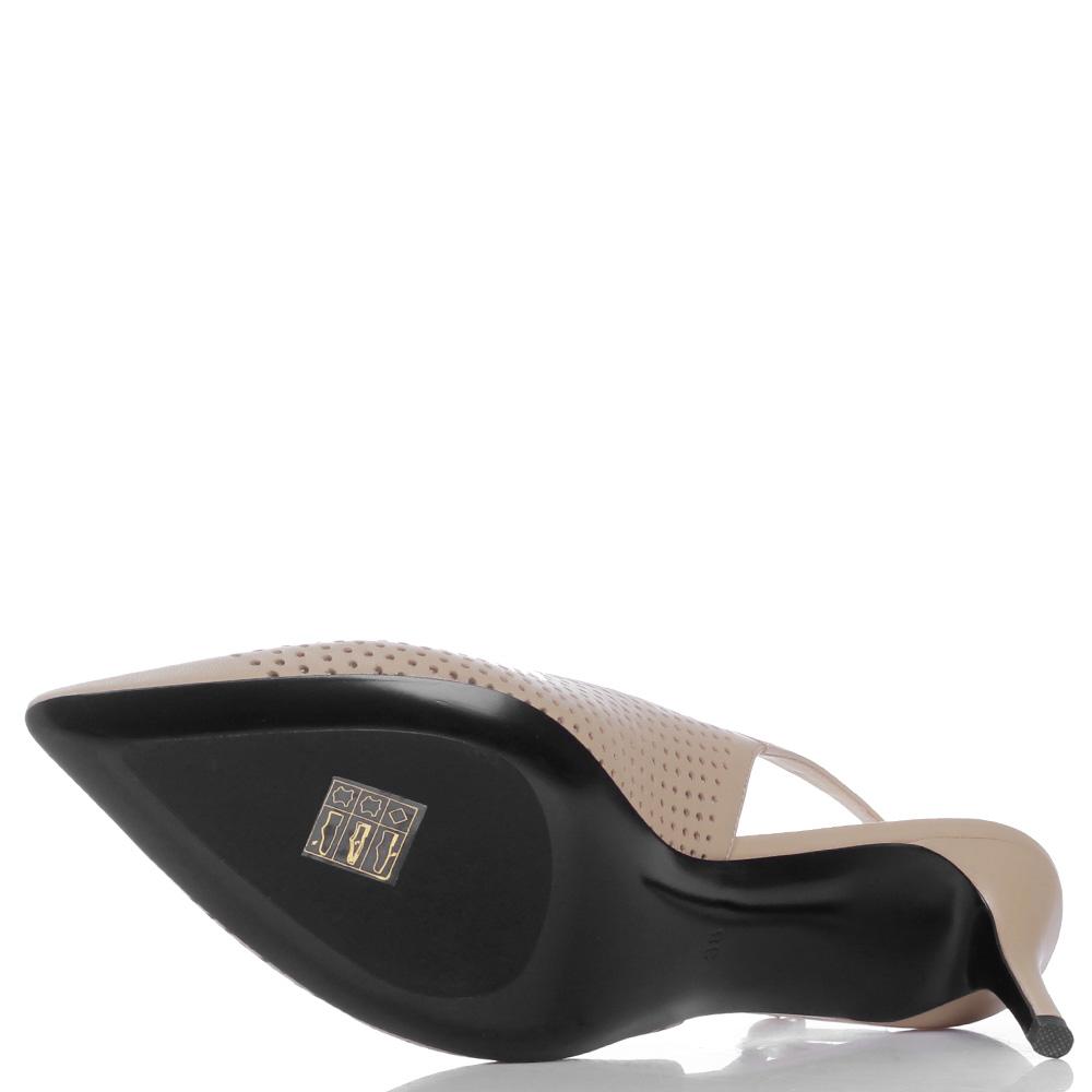 Бежевые туфли-слингбеки Loriblu с перфорацией