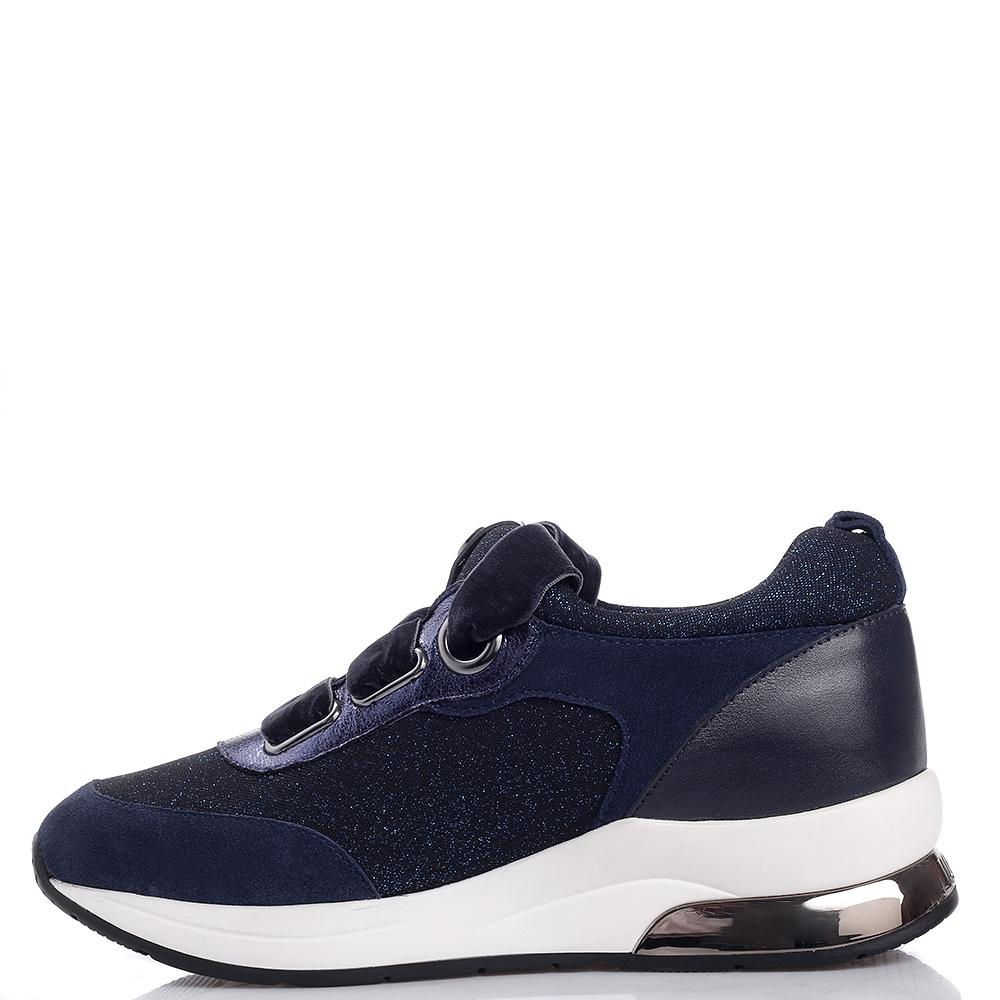 Синие кроссовки Liu Jo с бархатной шнуровкой