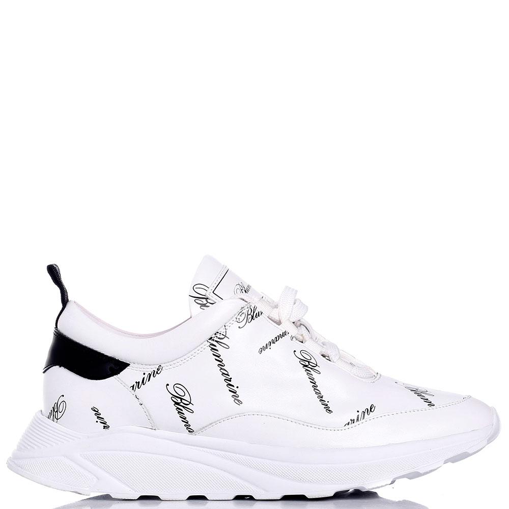 Белые кроссовки Blumarine с принтом