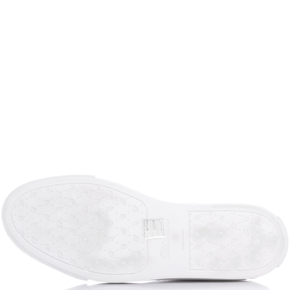 Белые кеды Blumarine с брендовым тиснением на коже