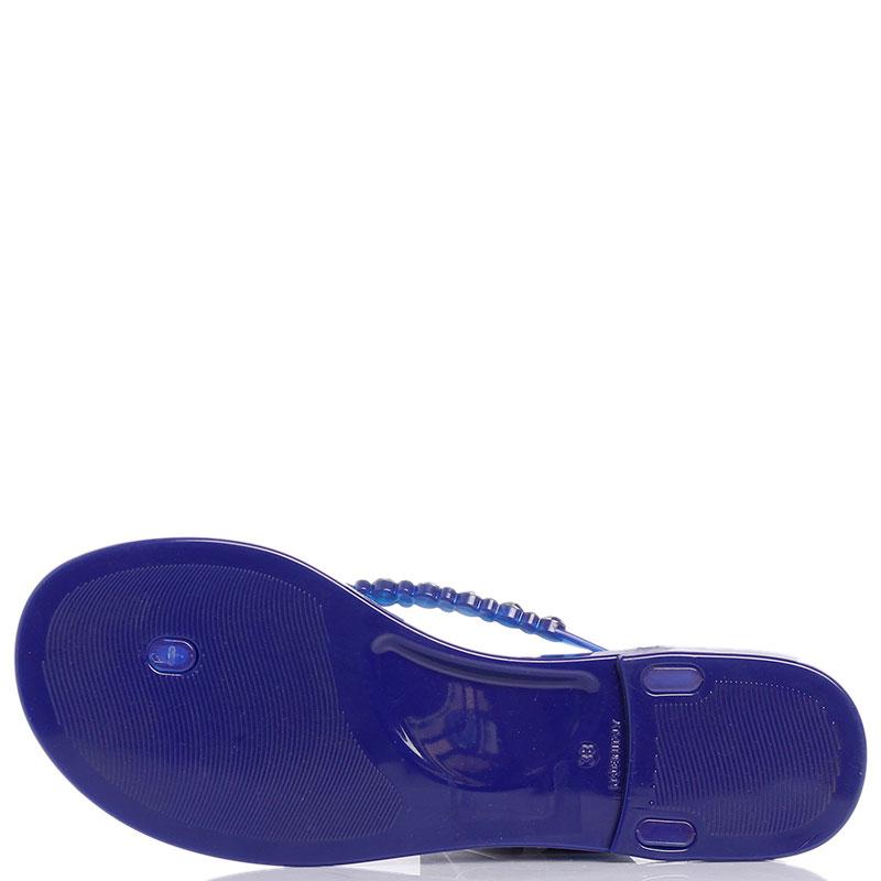 Шлепанцы синего цвета Menghi с разноцветными камнями