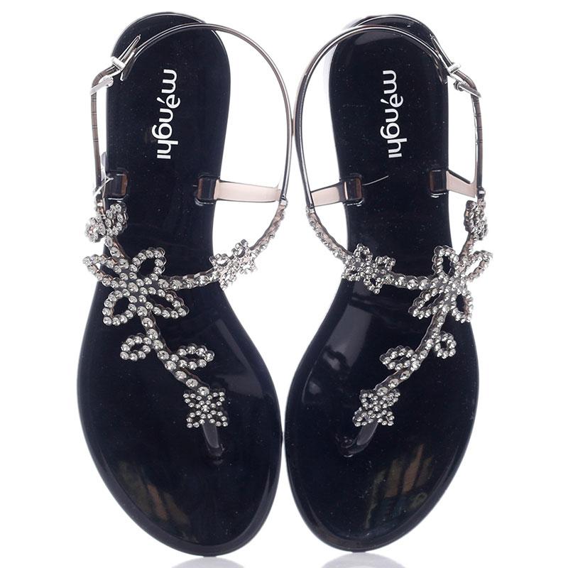 Сандалии черные Menghi с цветами из камней Swarovski