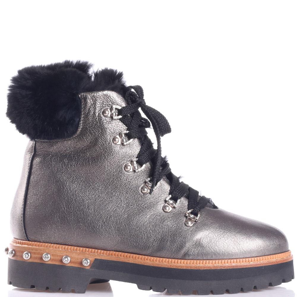 Серебристые ботинки Eddy Daniele со стразами на каблуке