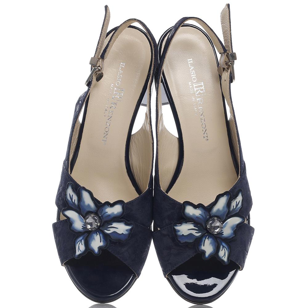 Синие босоножки Ilasio Renzoni с тиснением-цветы