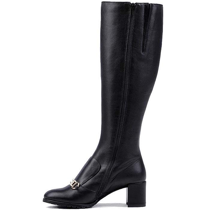 Демисезонные сапоги Modus Vivendi из кожи черного цвета на среднем каблуке