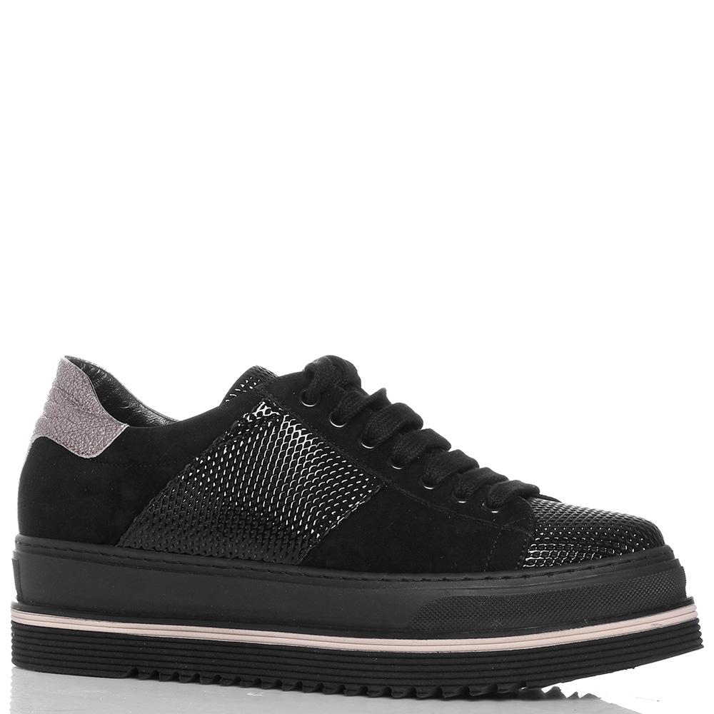 Черные кроссовки Laura Bellariva из замши с лаковыми вставками