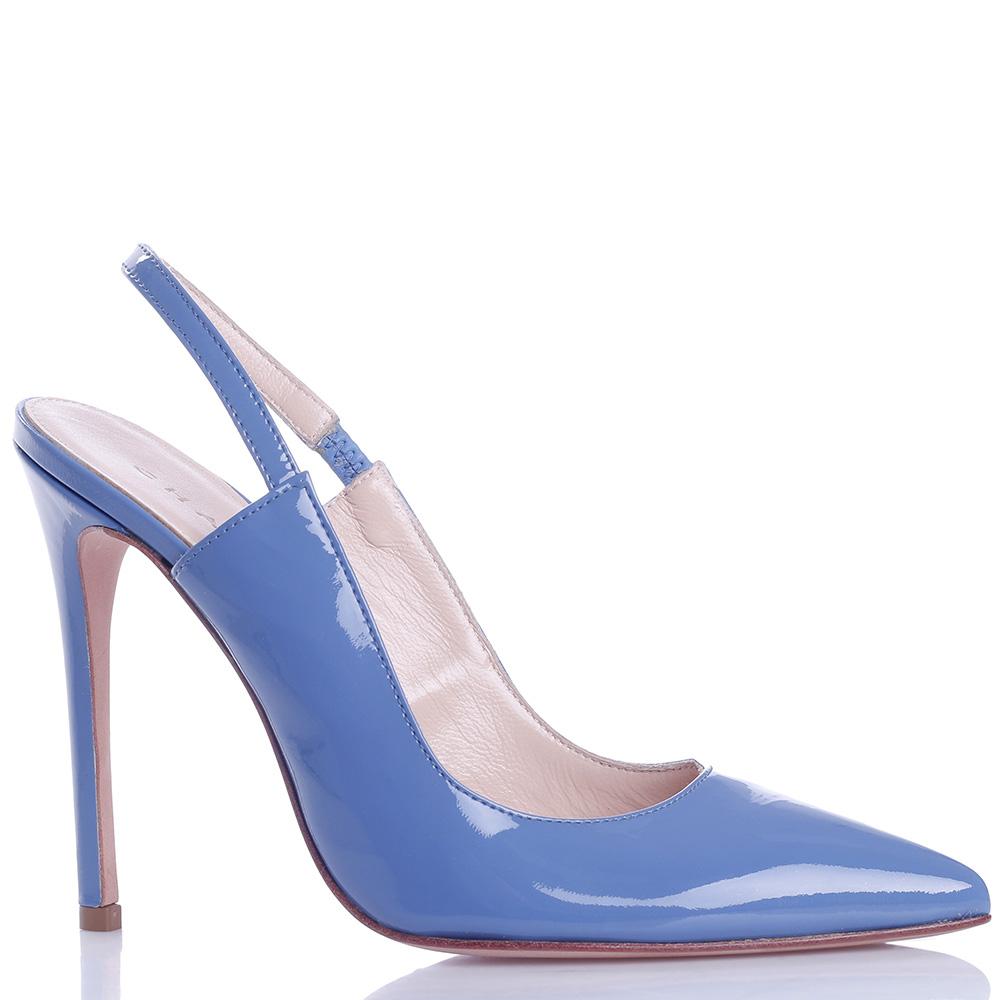 Голубые туфли-слингбэки Chantal из лаковой кожи