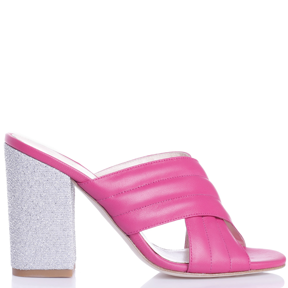 Розовые мюли Chantal на устойчивом каблуке