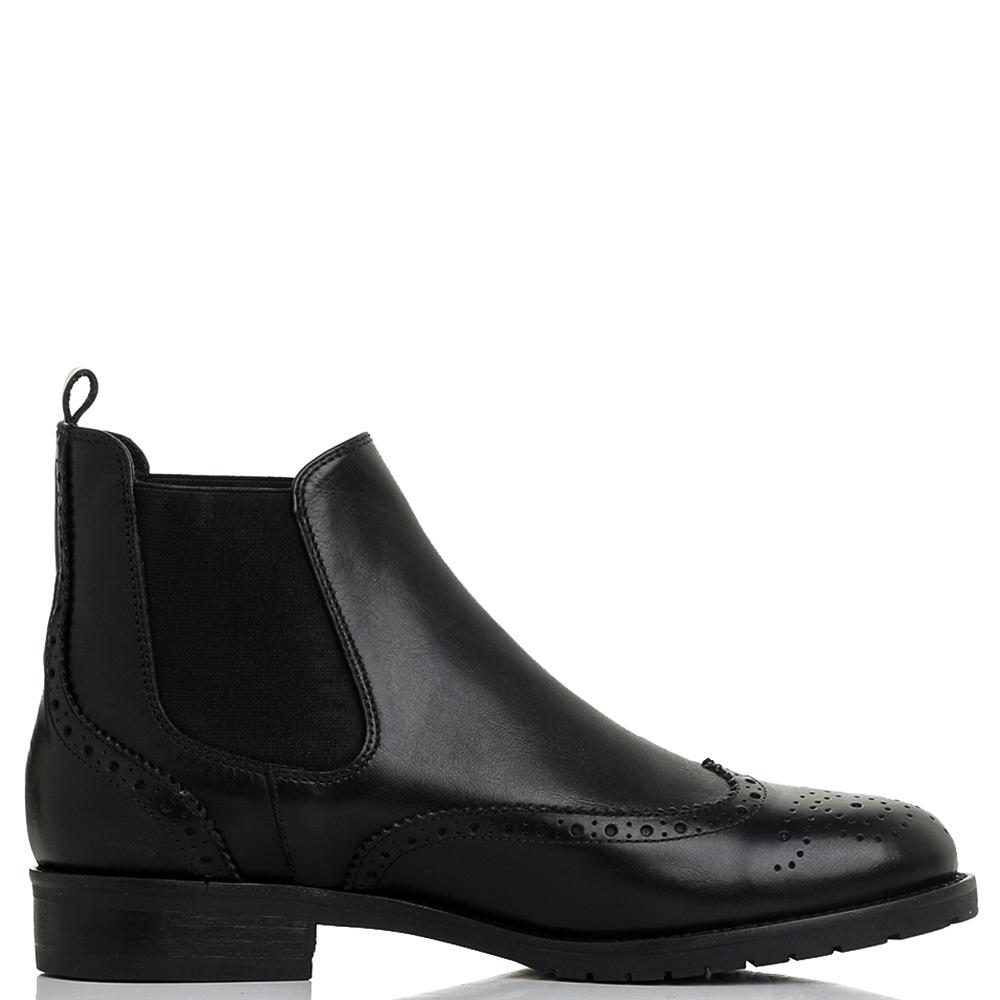 Ботинки-броги Mally черного цвета