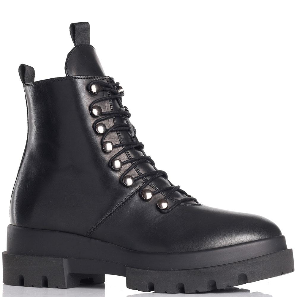 Ботинки на меху Angelo Bervicato из кожи черного цвета
