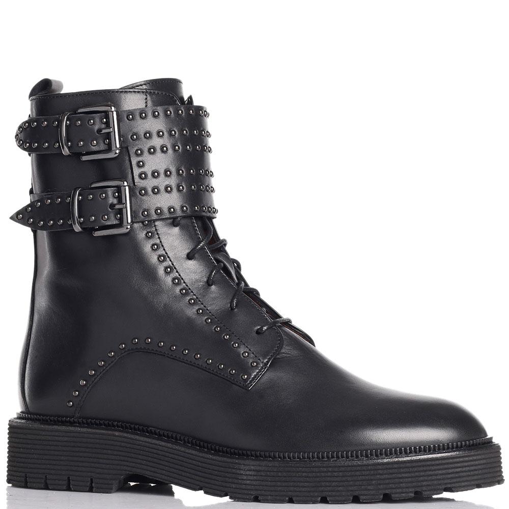 Ботинки черного цвета Angelo Bervicato в заклепках