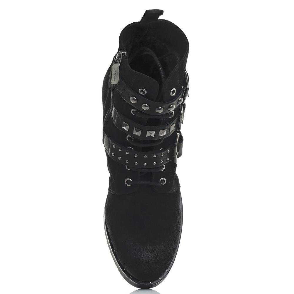 Ботинки Mally черного цвета с шипами