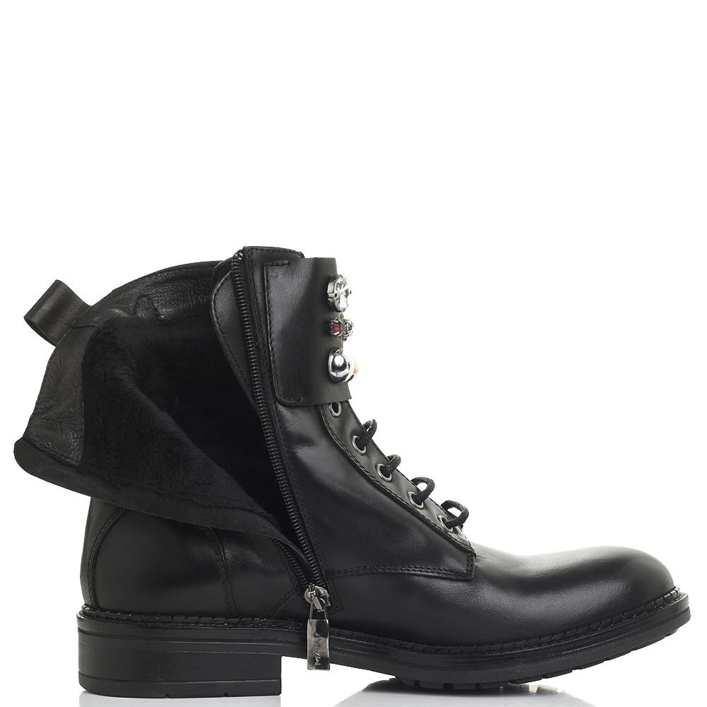 Черные ботинки Mally с декоративными камнями