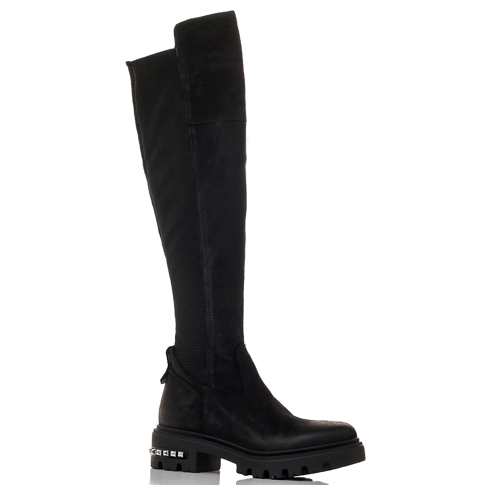 Черные сапоги Mally с металлическим декором на каблуке
