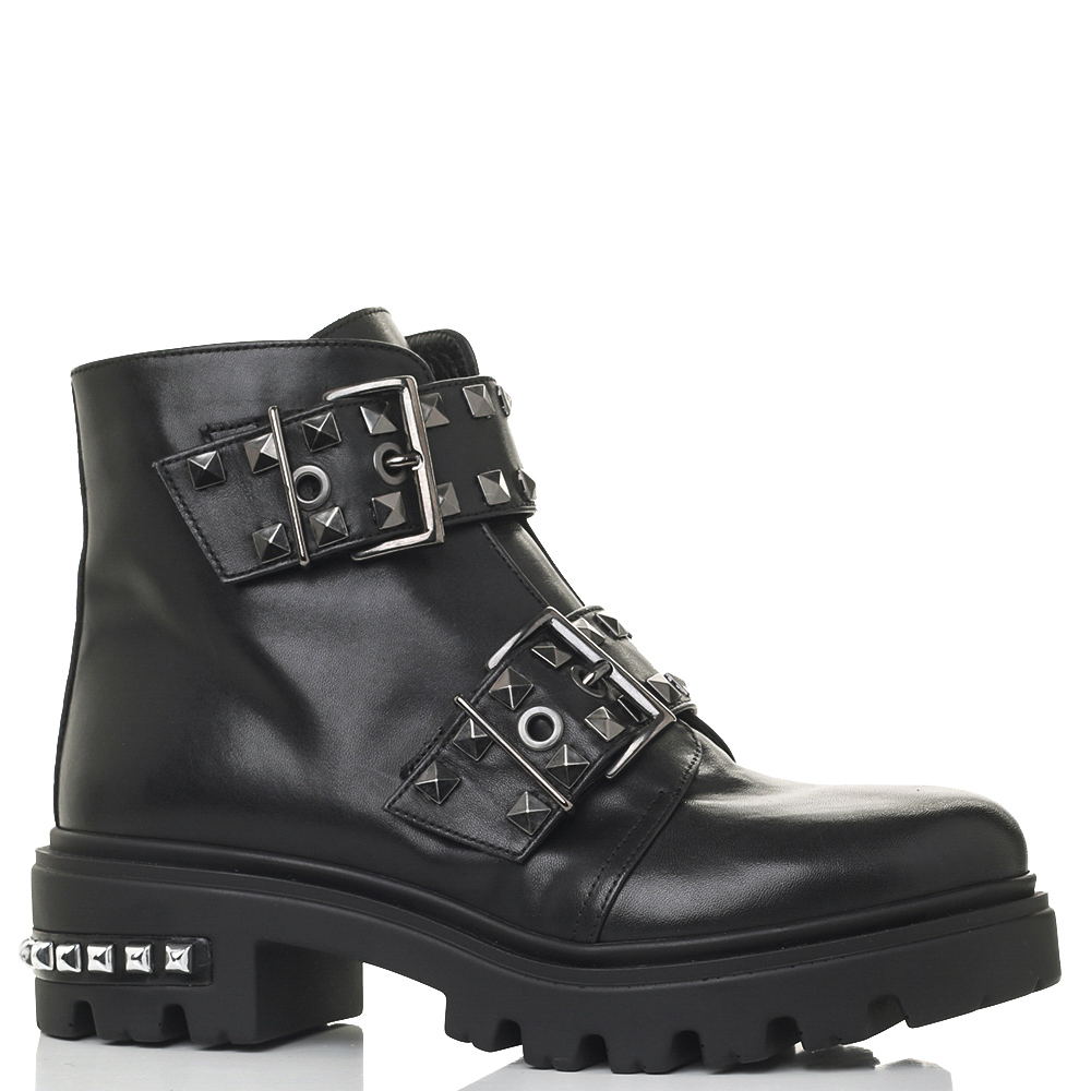 Черные ботинки Mally декорированные шипами