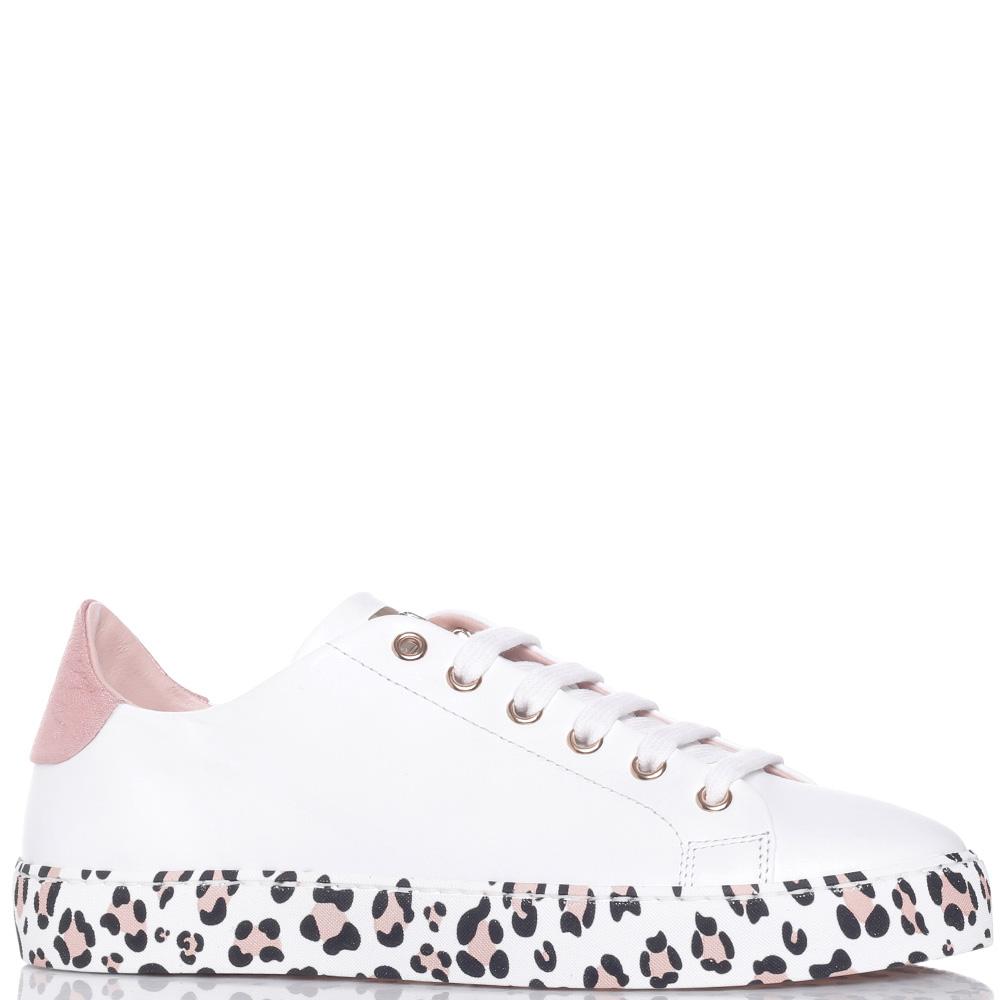 Белые кеды Stokton с леопардовым принтом на подошве