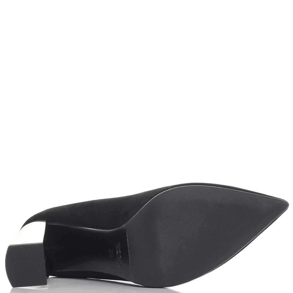 Черные туфли-лодочки Chantal на серебристом каблуке