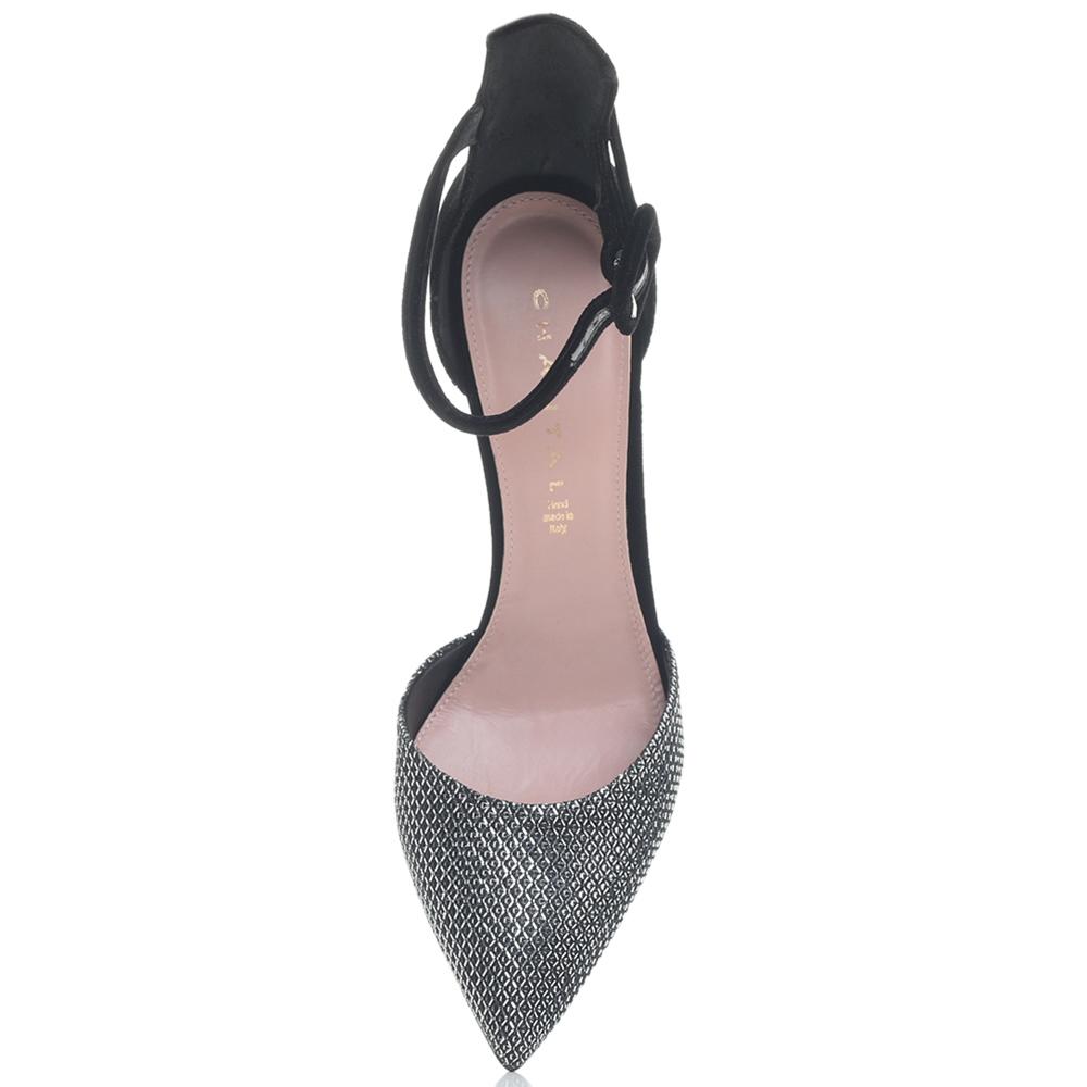 Серебристые туфли Chantal на высоком каблуке