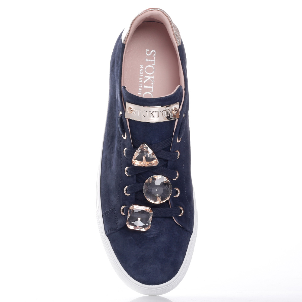 Темно-синие кеды Stokton со съемными стразами на шнуровке