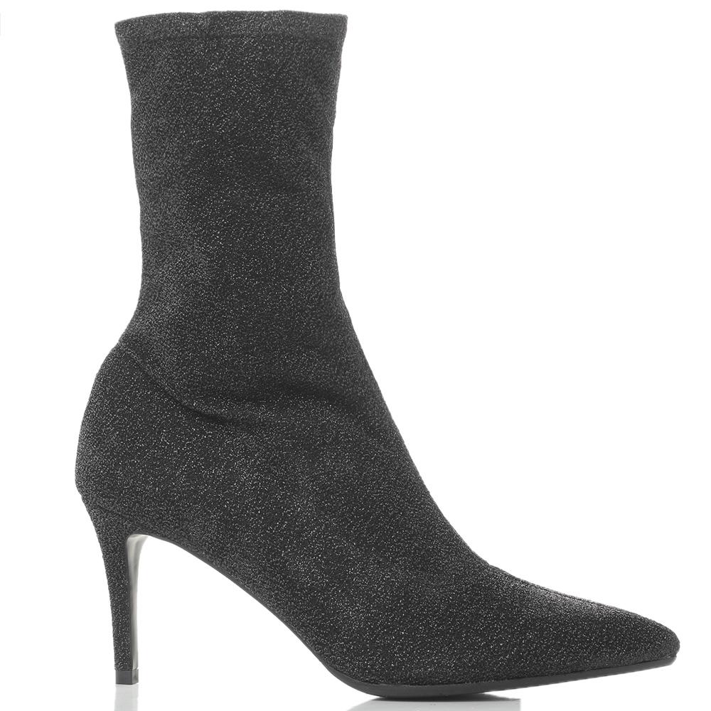 Черные ботильоны Chantal с блестками и острым носком
