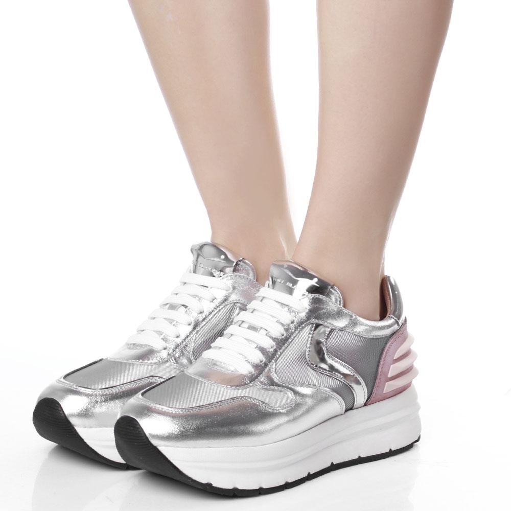Серебристые кроссовки Voile Blanche на платформе