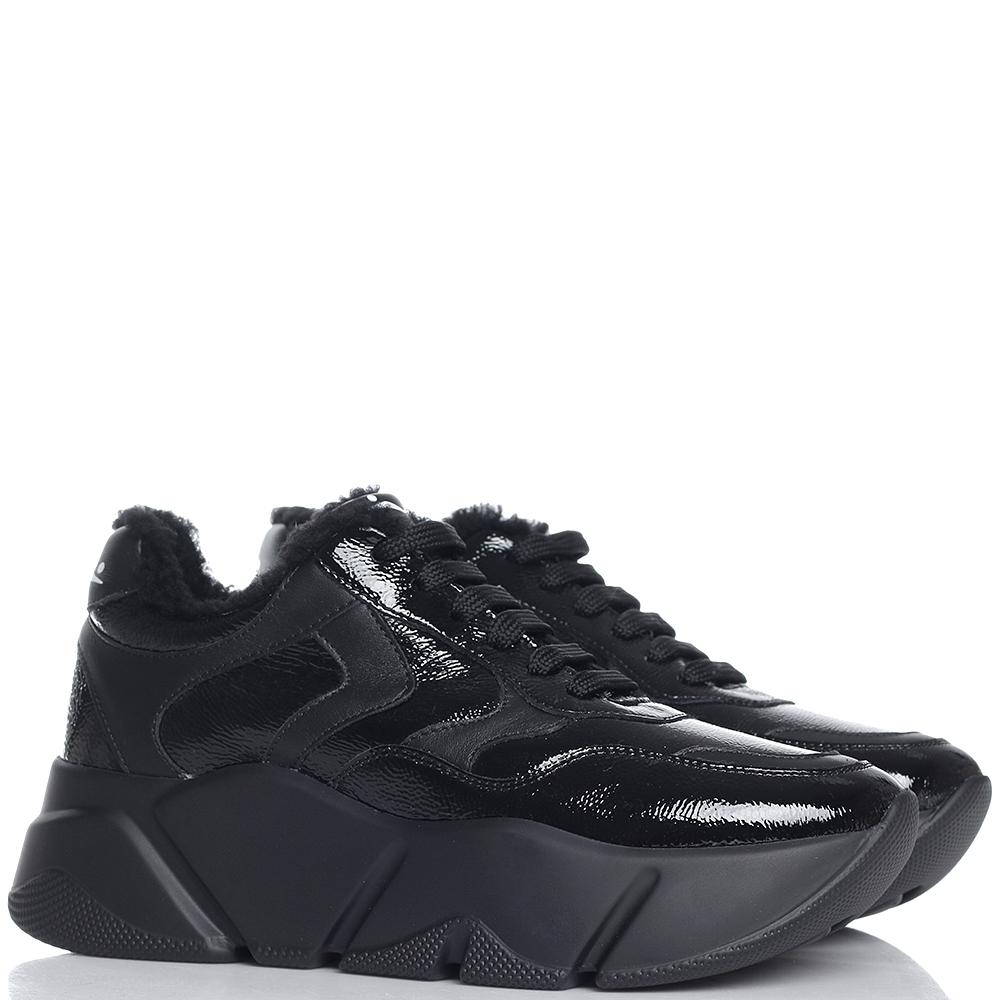 Лаковые кроссовки Voile Blanche Monster черного цвета