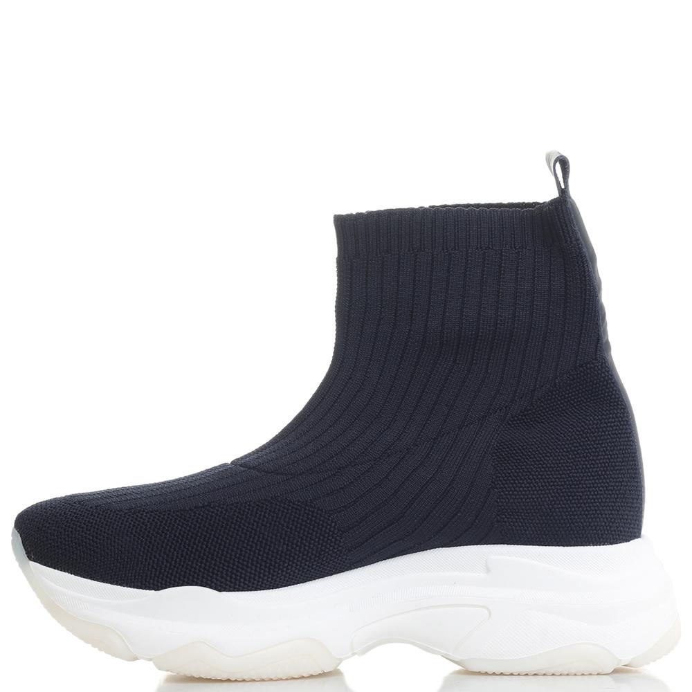 Высокие синие кроссовки Fornarina на толстой подошве
