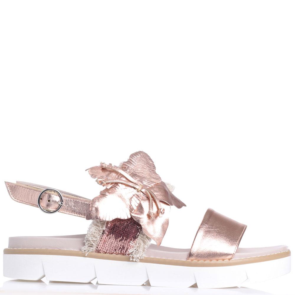Розовые сандалии Jeannot с бахромой и пайетками