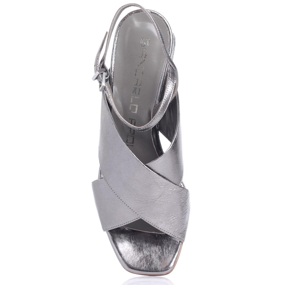 Серебристые босоножки Giancarlo Paoli на устойчивом каблуке