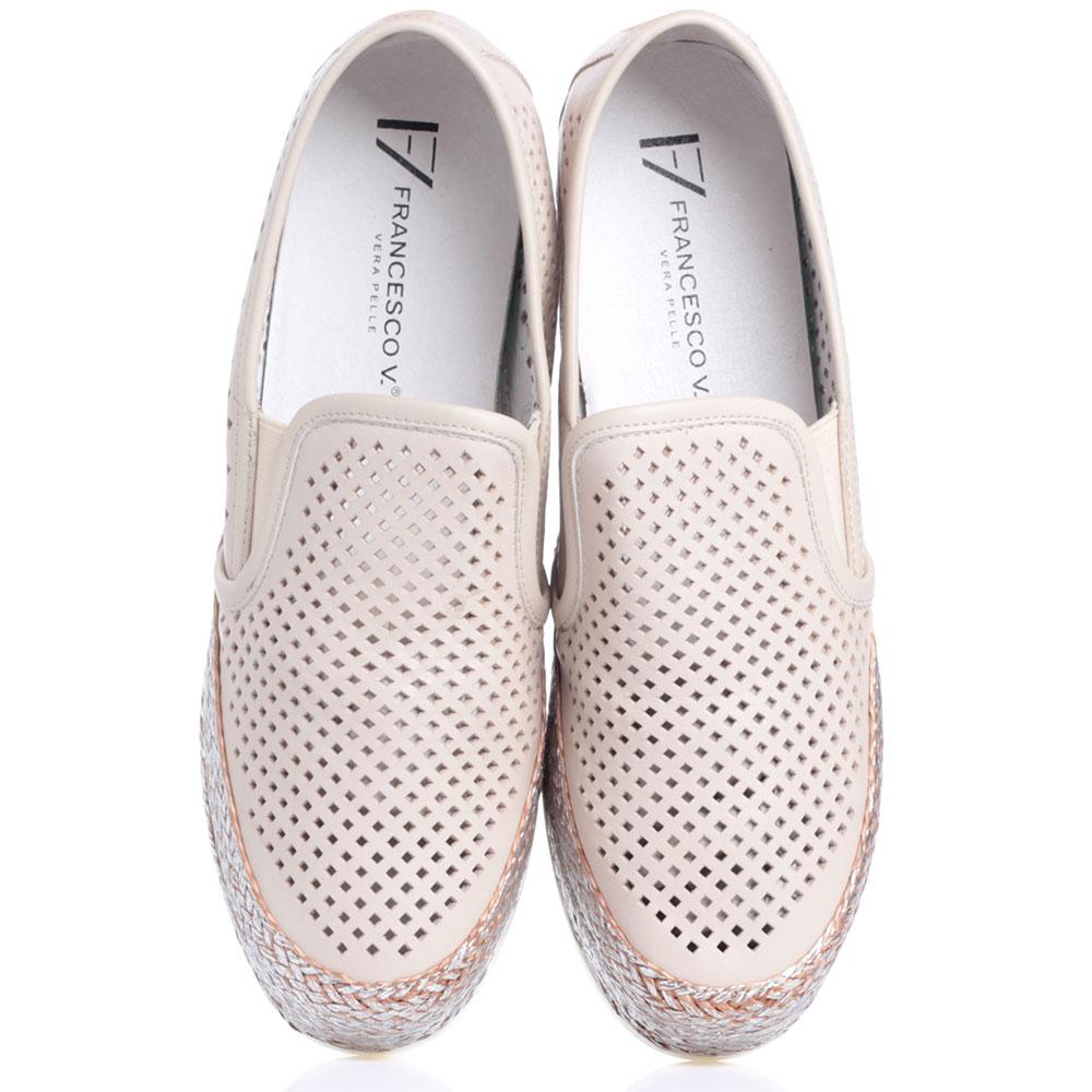 Бежевые туфли Francesco Valeri на платформе