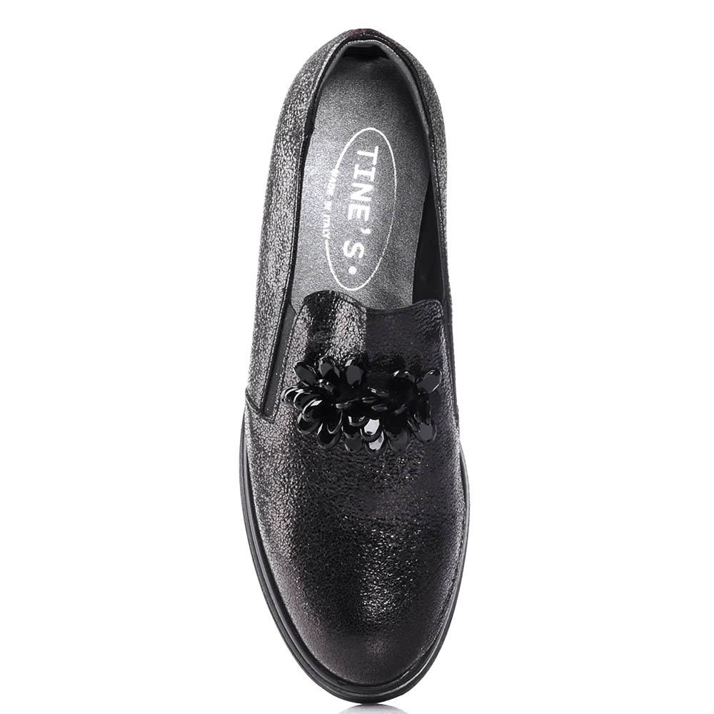Туфли Tine's черного цвета с декором-бусинами