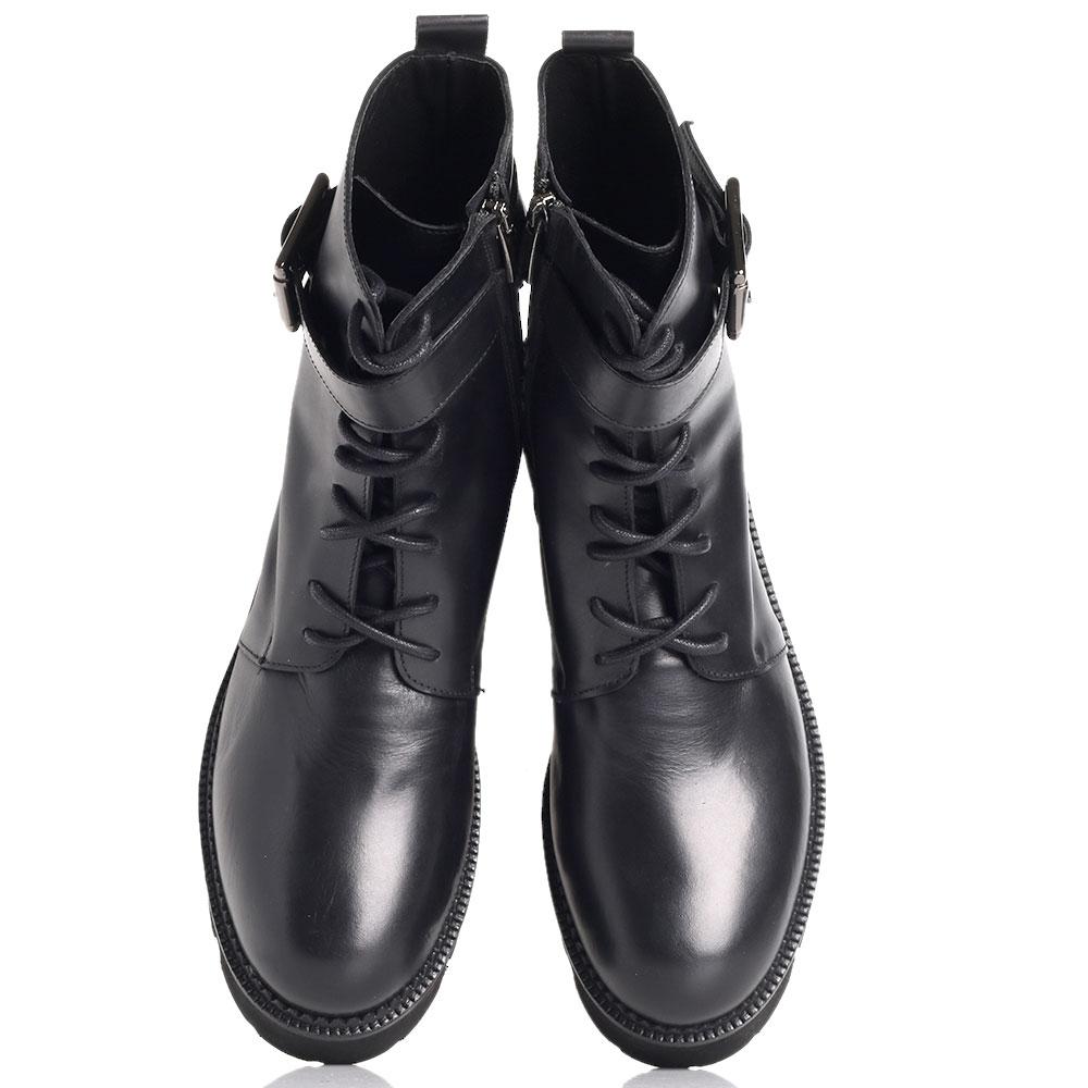 Ботинки черные Spaziomoda со шнурками и молнией