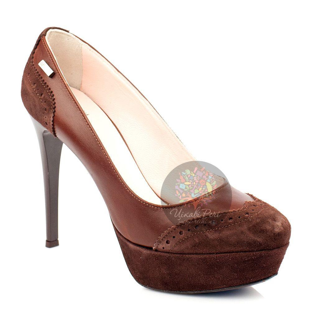 Туфли GF Ferre из комбинации коричневой кожи и замши с перфорацией