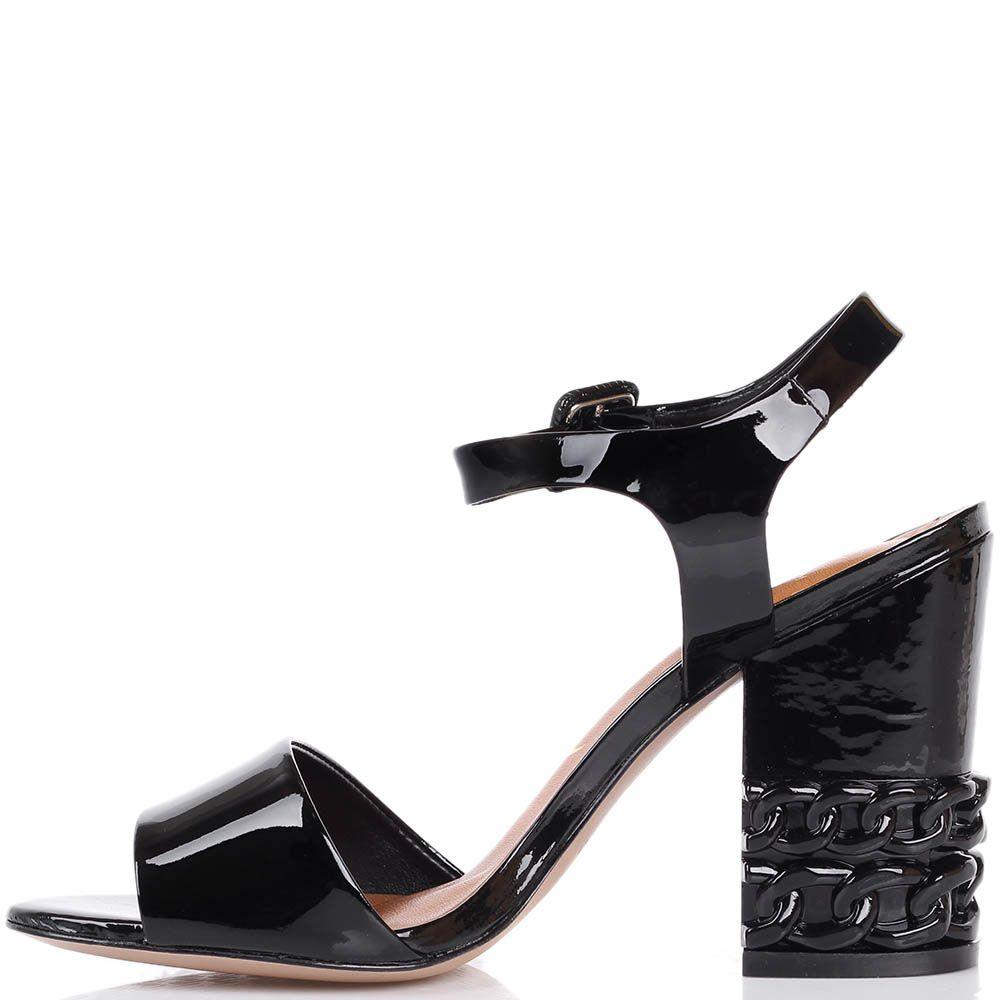 Босоножки Vicenza из лаковой кожи чернорго цвета с декоративными цепями на каблуке