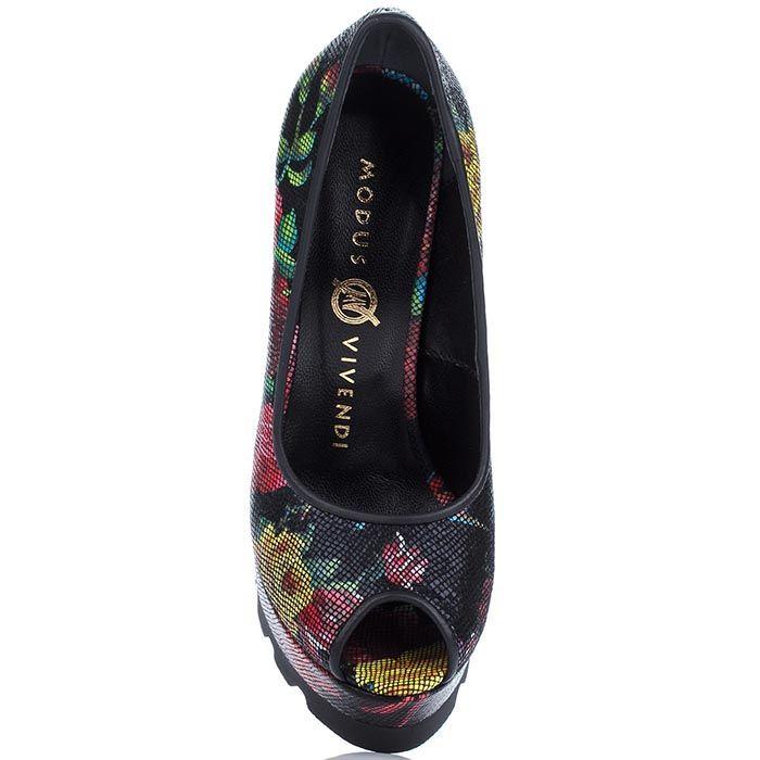 Кожаные туфли Modus Vivendi с цветочным принтом на каблуке и платформе