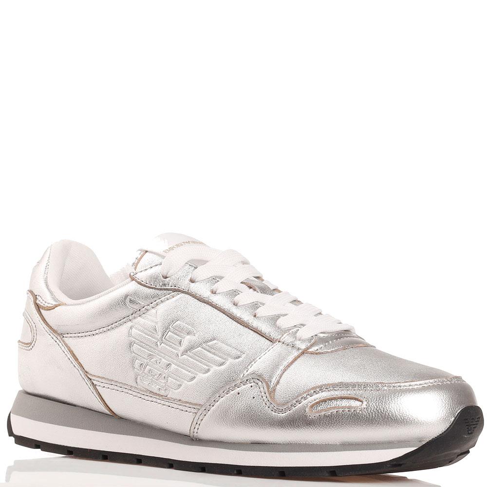 Серебристые кроссовки Emporio Armani с белой шнуровкой