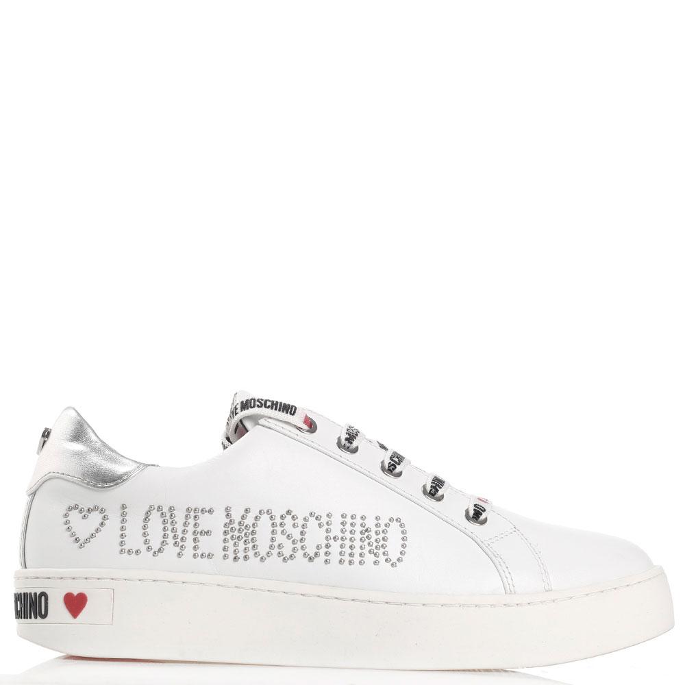 Белые кеды Love Moschino с заклепками-лого