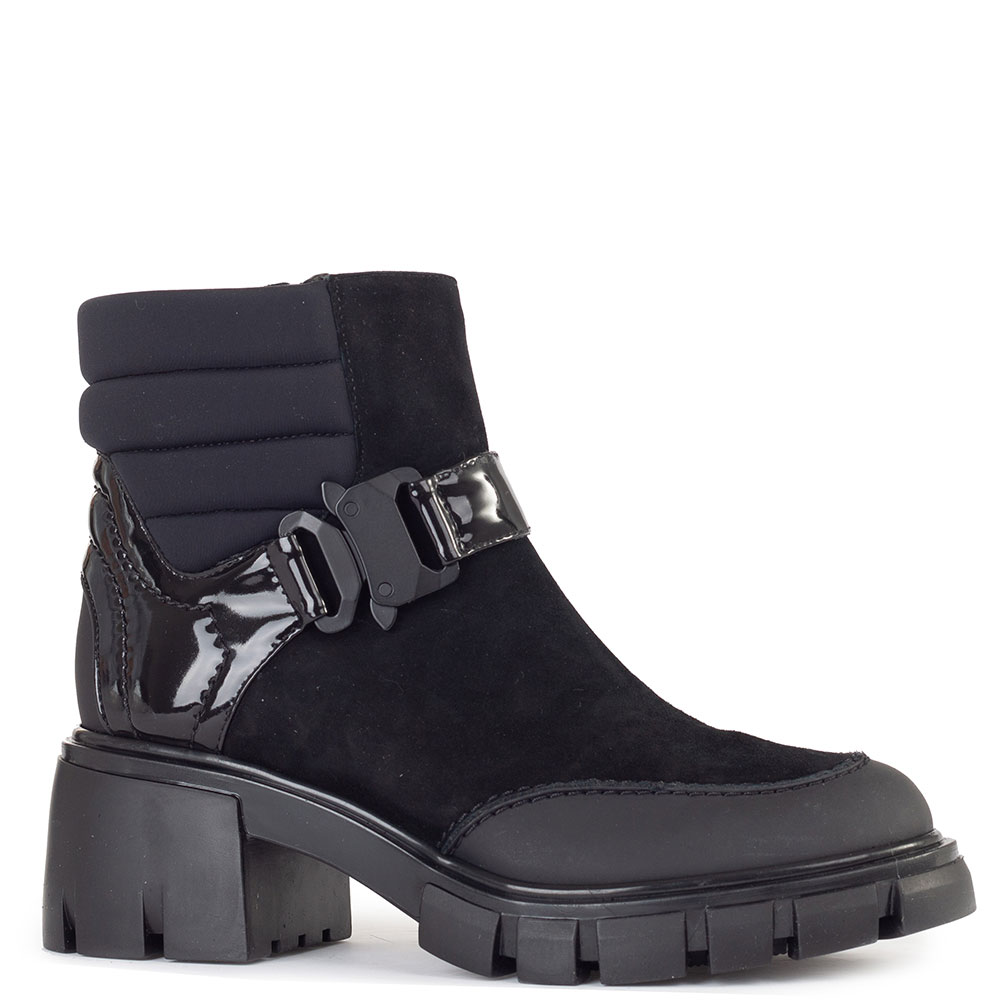 Черные ботинки Loriblu из замши и текстиля