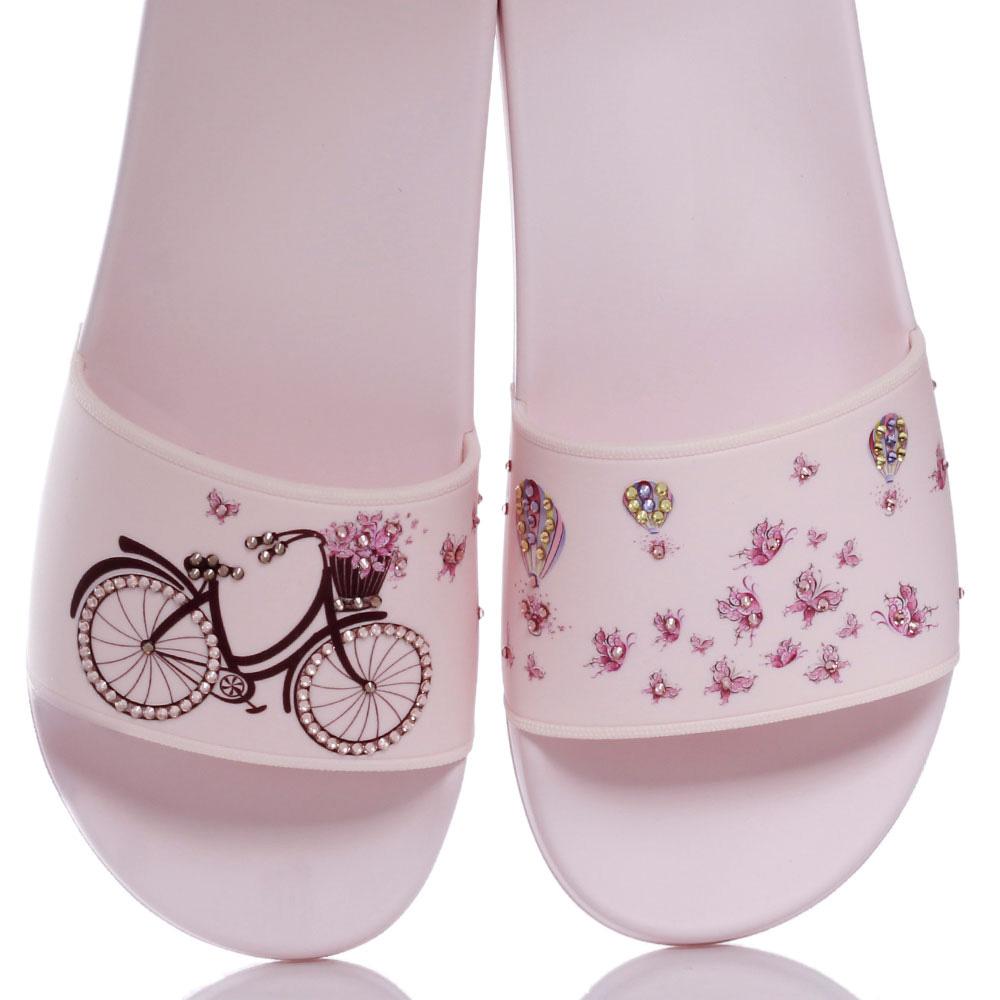 Розовые шлепанцы Menghi с принтом-велосипед