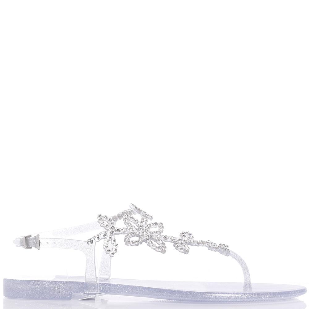Серебристые сандалии Menghi с блеском