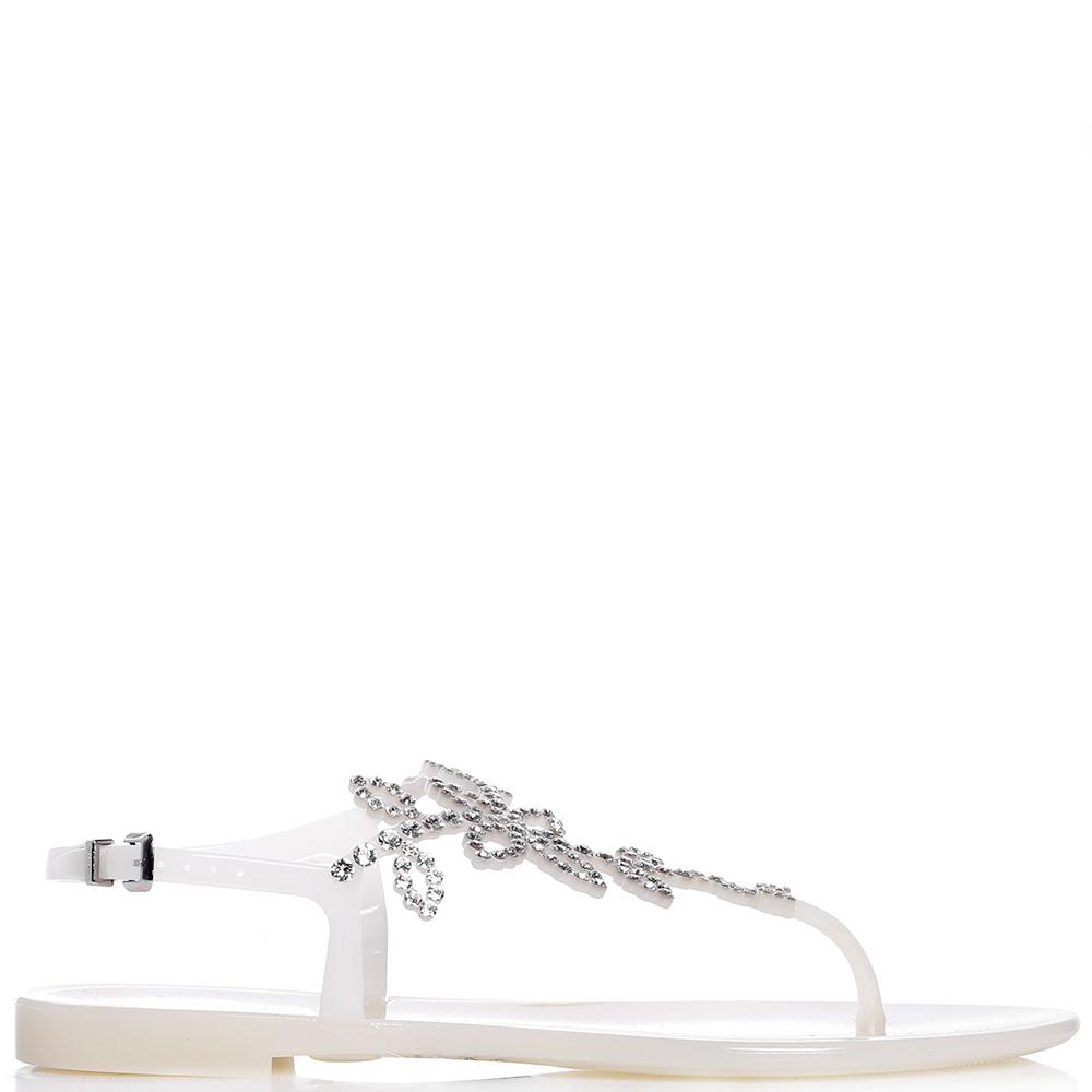 Белые сандалии Menghi со стразами