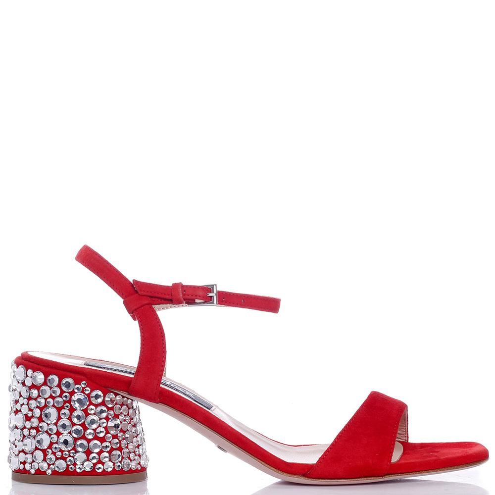 Красные босоножки Sebastian со стразами на каблуке