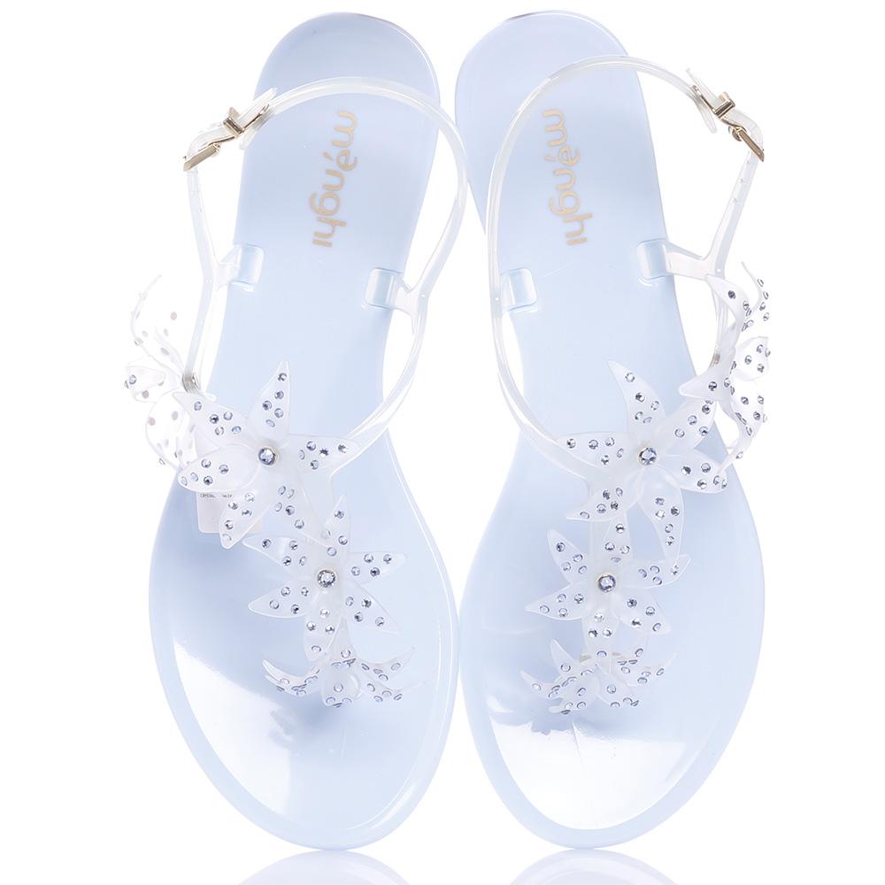Голубые сандалии Menghi с флористическим декором