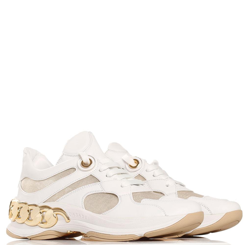 Белые кроссовки Casadei с золотистым декором