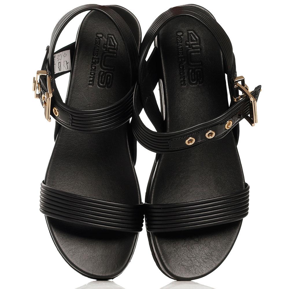 Черные сандалии Cesare Paciotti с крупной пряжкой