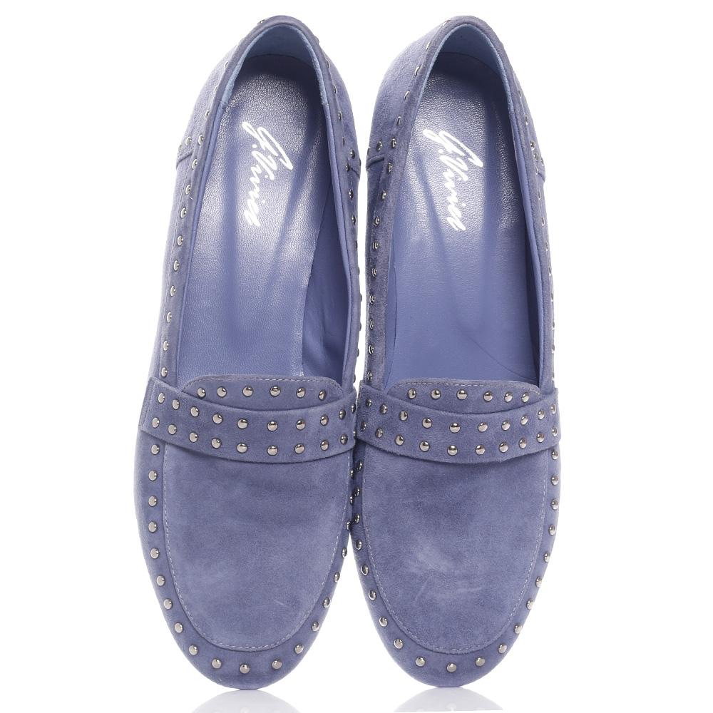 Голубые туфли Genuin Vivier с декором-заклепками